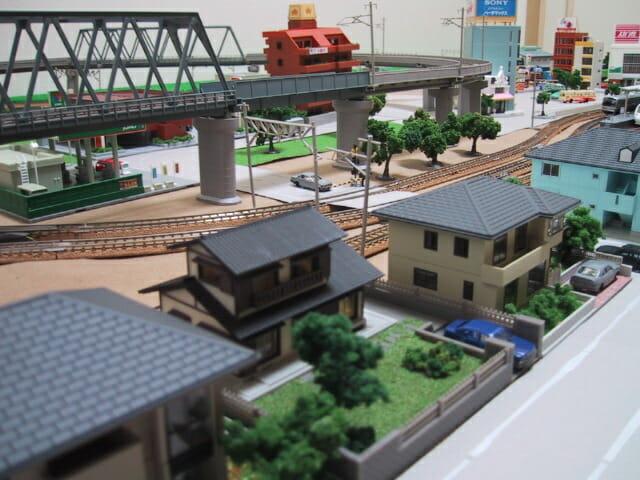 敷き布レイアウトの街並み(鉄道模型Nゲージ)