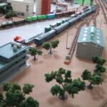 敷き布レイアウトの車両基地(鉄道模型Nゲージ)